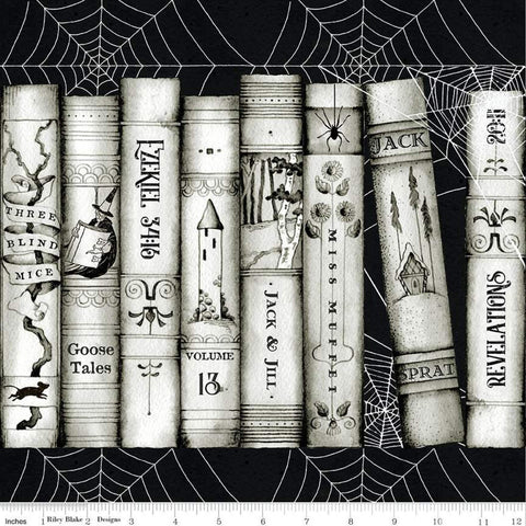 SALE Goose Tales Book Spines Border Stripe - Riley Blake Designs - Halloween Books Spider Webs -  Quilting Cotton Fabric