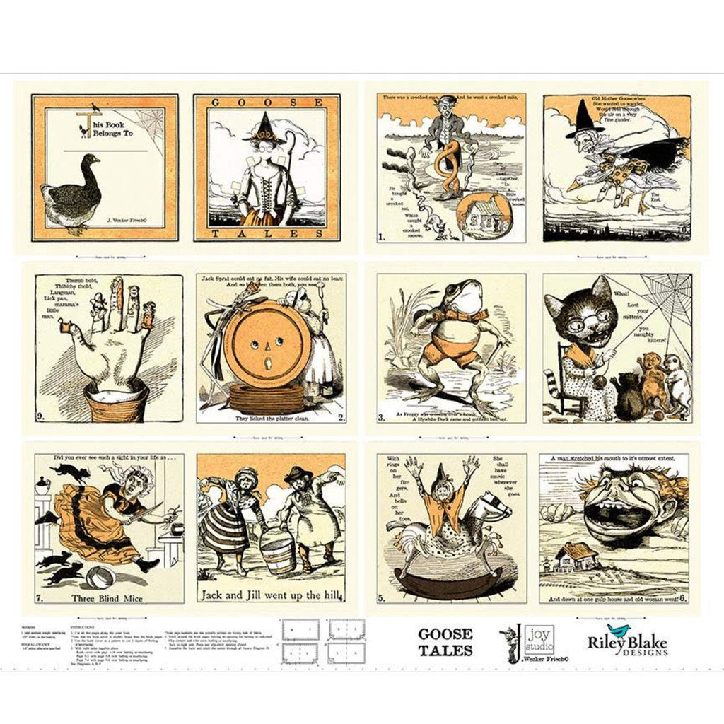 SALE Goose Tales Soft Book Panel by Riley Blake Designs - Halloween Quotes Illustrations Nursery Rhymes - Quilting Cotton Fabric