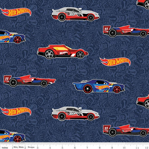 SALE Hot Wheels Main Navy - Riley Blake Designs - Die-Cast Toy Cars Blue Tone-on-Tone Background -  Quilting Cotton Fabric