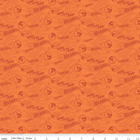 SALE Hot Wheels Dare to be Rad Orange - Riley Blake Designs - Die-Cast Toy Race Cars Logo Tone on Tone - Quilting Cotton Fabric