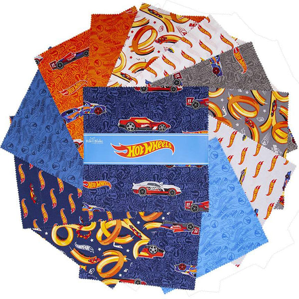 "Hot Wheels Layer Cake 10"" Stacker Bundle - Riley Blake Designs - 42 piece Precut Pre cut - Racing Cars Toys - Quilting Cotton Fabric"