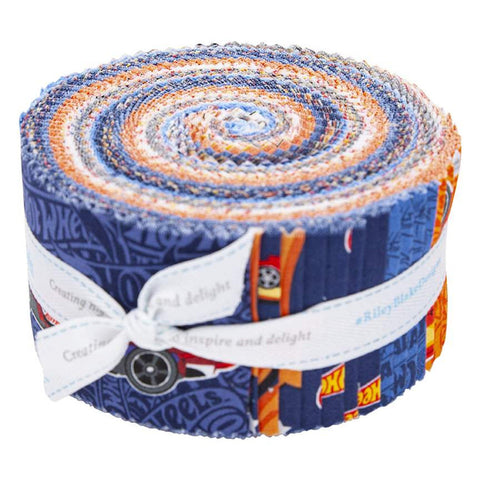 SALE Hot Wheels 2.5-Inch Rolie Polie Jelly Roll 40 pieces Riley Blake Designs - Precut Bundle - Racing Cars Toys - Quilting Cotton Fabric