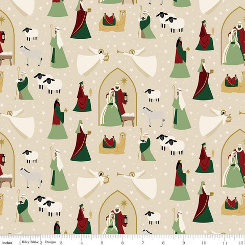 Oh Holy Night Main Linen SPARKLE - Riley Blake Designs - Christmas Nativity Beige with Gold SPARKLE - Quilting Cotton Fabric