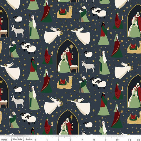Oh Holy Night Main Navy SPARKLE - Riley Blake Designs - Christmas Nativity Blue with Gold SPARKLE - Quilting Cotton Fabric