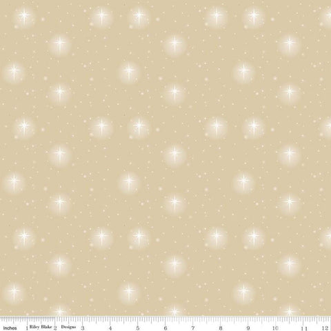Oh Holy Night Star Scatter Linen - Riley Blake Designs - Christmas Nativity Beige Bright Star Small Stars  - Quilting Cotton Fabric