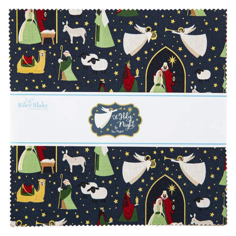 "SALE Oh Holy Night Layer Cake 10"" Stacker Bundle - Riley Blake Designs - 42 piece Precut Pre cut - Christmas Nativity-Quilting Cotton Fabric"