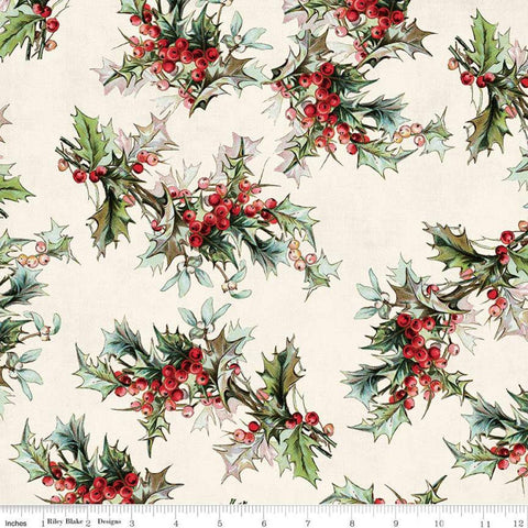 SALE Yuletide Main Cream - Riley Blake Designs - Christmas Holly Berries Floral  - Quilting Cotton Fabric
