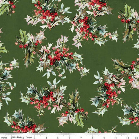SALE Yuletide Main Green - Riley Blake Designs - Christmas Holly Berries Floral  - Quilting Cotton Fabric