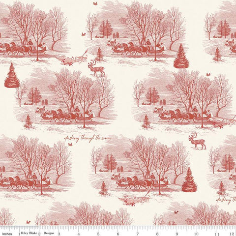 SALE Yuletide Sleigh Toile Cream - Riley Blake Designs - Christmas Sleigh Ride Dashing through the Snow Deer Winter - Quilting Cotton Fabric