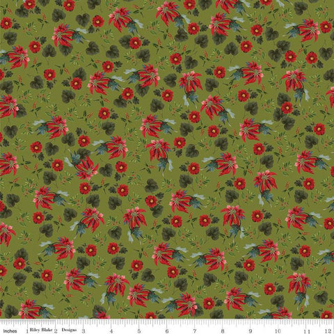 SALE Yuletide Poinsettias Olive - Riley Blake Designs - Floral Flowers Leaves Holly Berries Green - Quilting Cotton Fabric