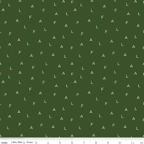 SALE Yuletide Fa La Letters Green - Riley Blake Designs - Christmas Cream Capital F A L on Green - Quilting Cotton Fabric