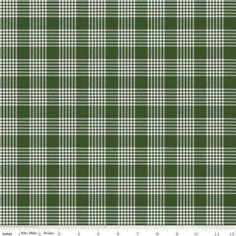 SALE Yuletide Plaid Green - Riley Blake Designs - Christmas Houndstooth Plaid Cream Green  - Quilting Cotton Fabric