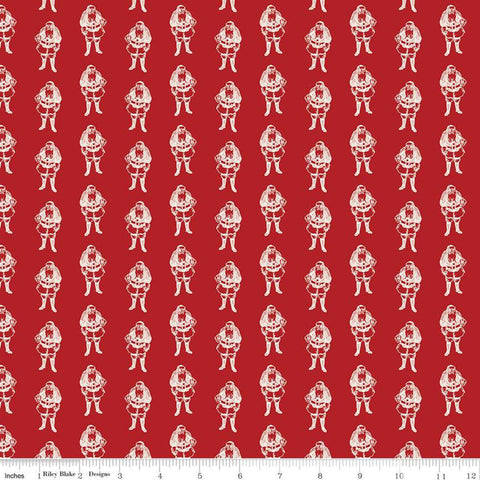 SALE Yuletide Santas Red - Riley Blake Designs - Christmas Santa Claus St. Nick Cream - Quilting Cotton Fabric