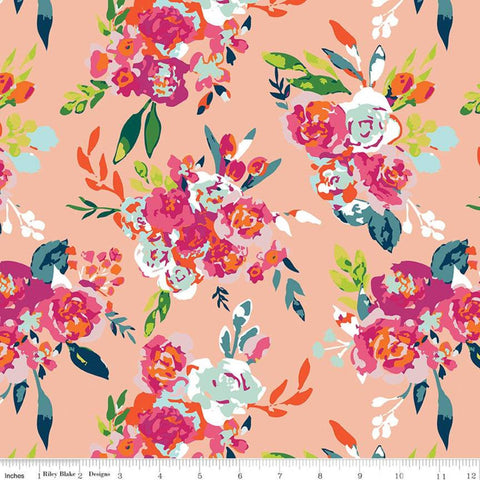 Garden Party Main C9560 Blush - Riley Blake Designs - Floral Flowers Peach Orange - Quilting Cotton Fabric