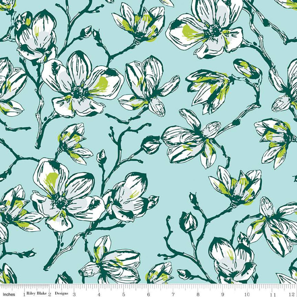 Garden Party Magnolias C9561 Blue - Riley Blake Designs - Floral Flowers - Quilting Cotton Fabric