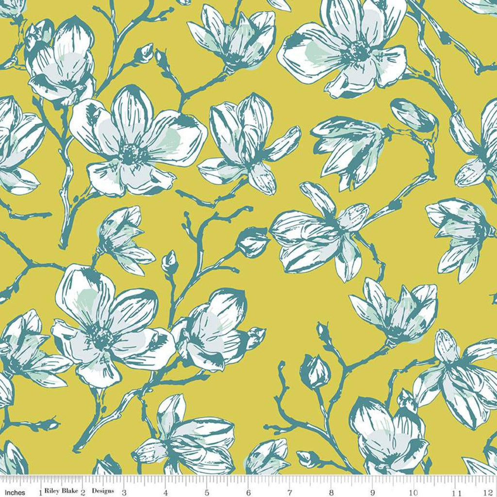 Garden Party Magnolias C9561 Citrus - Riley Blake Designs - Yellow Floral Flowers - Quilting Cotton Fabric