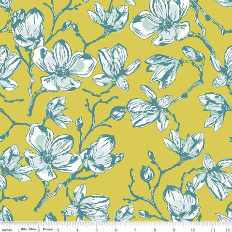 SALE Garden Party Magnolias C9561 Citrus - Riley Blake Designs - Yellow Floral Flowers - Quilting Cotton Fabric