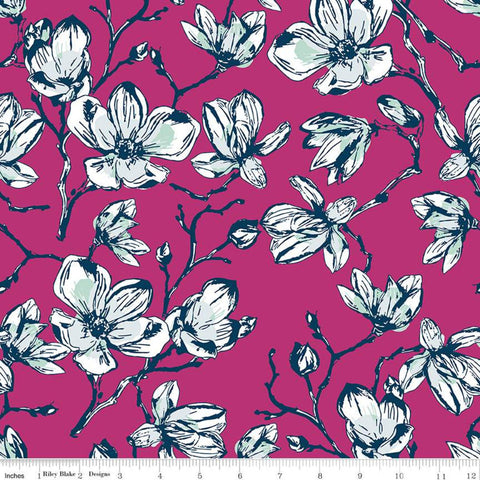 Garden Party Magnolias C9561 Fuchsia - Riley Blake Designs - Pink Floral Flowers - Quilting Cotton Fabric