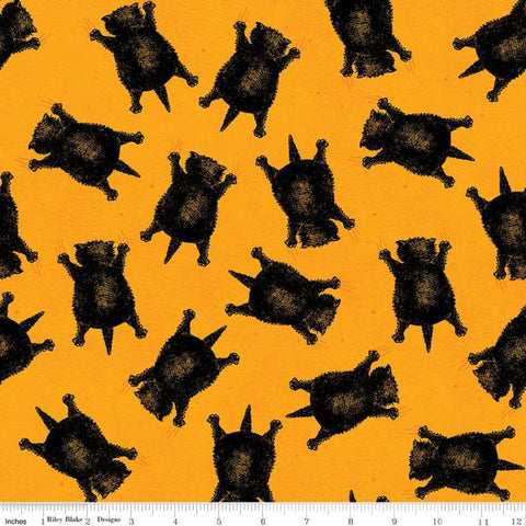 SALE Goose Tales Scaredy Cats Toss Orange - Riley Blake Designs - Halloween Cats -  Quilting Cotton Fabric