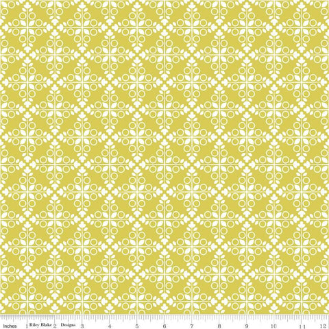 SALE Garden Party Trellis C9562 Citrus - Riley Blake Designs - Geometric Medallions Circles Leaves Yellow Cream - Quilting Cotton Fabric