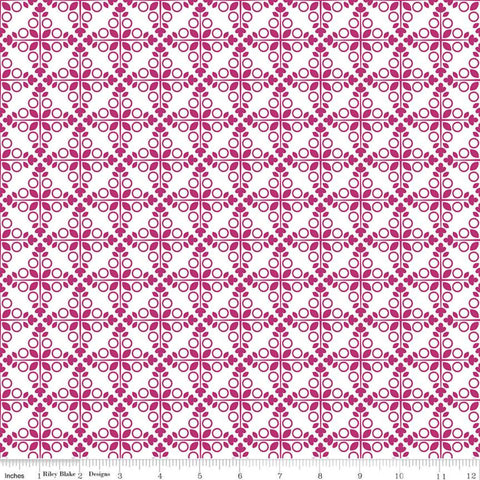 SALE Garden Party Trellis C9562 Fuchsia - Riley Blake Designs - Geometric Medallions Circles Leaves Pink Cream - Quilting Cotton Fabric