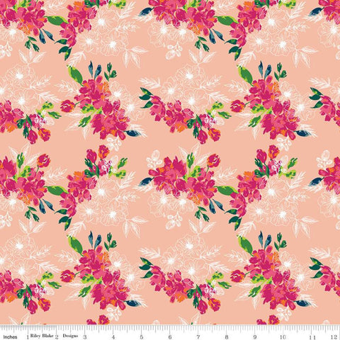 SALE Garden Party Flower Bed C9564 Blush - Riley Blake Designs - Floral Flowers Cream Orange Peach - Quilting Cotton Fabric