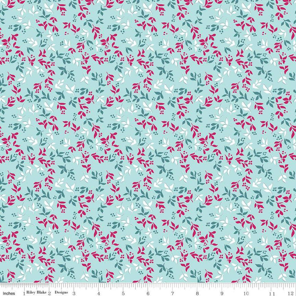 Garden Party Foliage C9566 Blue - Riley Blake Designs - Floral Flowers Leaves  - Quilting Cotton Fabric