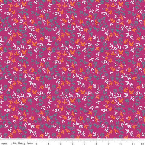 Garden Party Foliage C9566 Fuchsia - Riley Blake Designs - Floral Flowers Leaves Pink  - Quilting Cotton Fabric