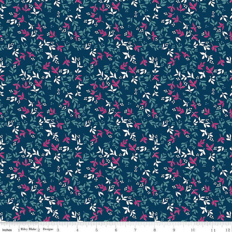 SALE Garden Party Foliage C9566 Navy - Riley Blake Designs - Floral Flowers Leaves Blue  - Quilting Cotton Fabric