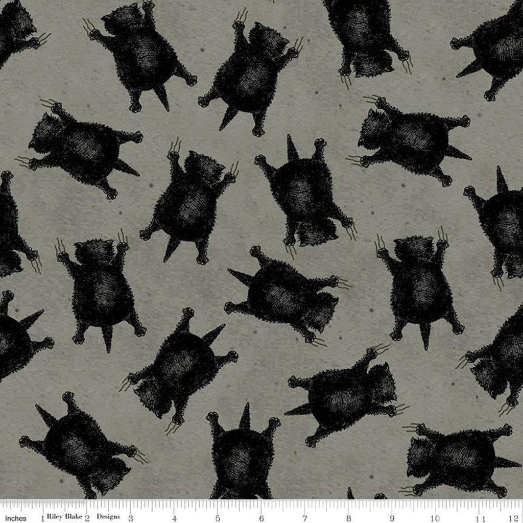 SALE Goose Tales Scaredy Cats Toss C9398 Gray - Riley Blake Designs - Halloween Cats -  Quilting Cotton Fabric