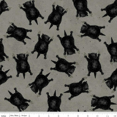Goose Tales Scaredy Cats Toss C9398 Gray - Riley Blake Designs - Halloween Cats -  Quilting Cotton Fabric