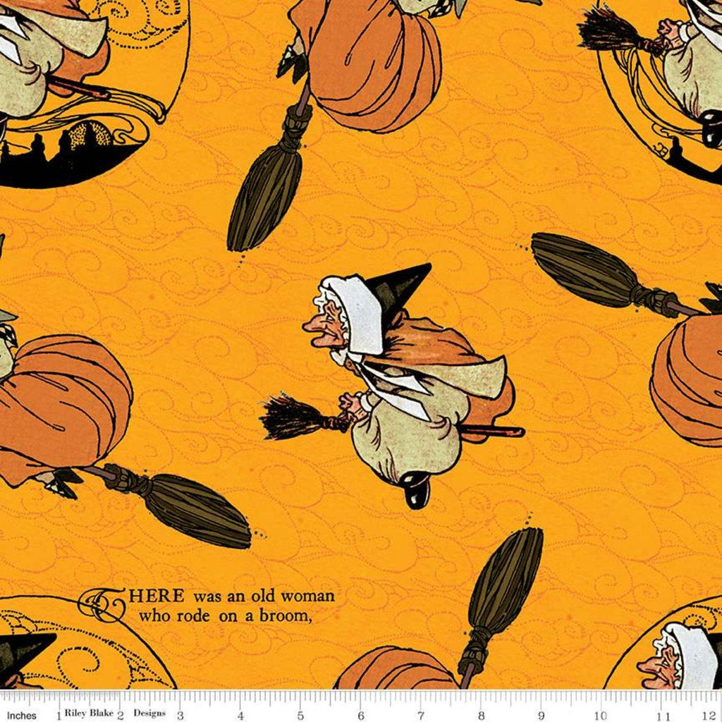 Goose Tales Old Mother Goose Toss C9396 Orange - Riley Blake Designs - Halloween Broomsticks Nursery Rhymes -  Quilting Cotton Fabric