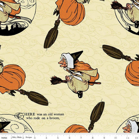 SALE Goose Tales Old Mother Goose Toss C9396 Cream - Riley Blake Designs - Halloween Broomsticks Nursery Rhymes -  Quilting Cotton Fabric