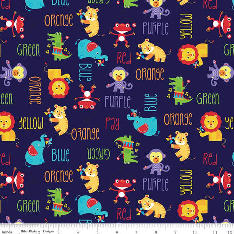 SALE Fisher-Price Main Navy - Riley Blake Designs - Toys Animals Color Names Text Blue - Quilting Cotton Fabric
