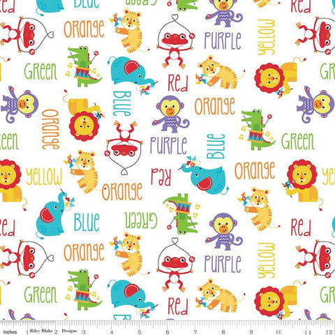 SALE Fisher-Price Main White - Riley Blake Designs - Toys Animals Color Names Text - Quilting Cotton Fabric