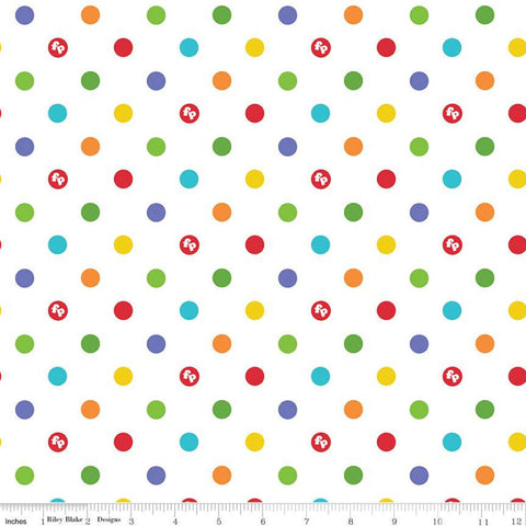 SALE Fisher-Price Dots White - Riley Blake Designs - Toys Nostalgia Childhood Juvenile Polka Dots Dotted Dot Logo - Quilting Cotton Fabric