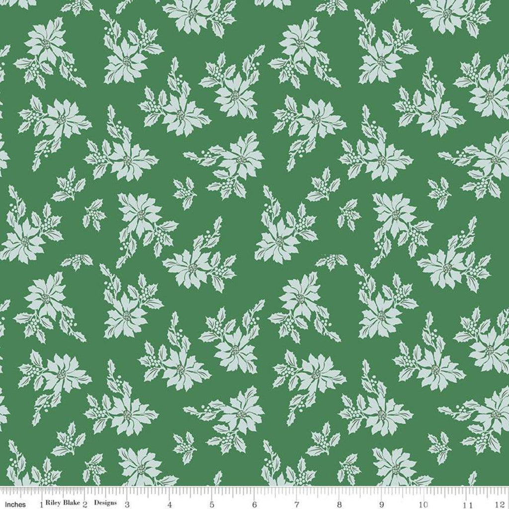SALE Santa Claus Lane Poinsettias C9611 Green - Riley Blake Designs - Christmas Flowers Floral - Quilting Cotton Fabric