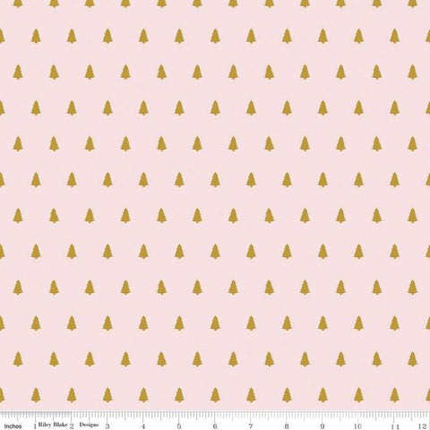 Santa Claus Lane Trees SC9613 Pink SPARKLE - Riley Blake Designs - Christmas Gold SPARKLE - Quilting Cotton Fabric