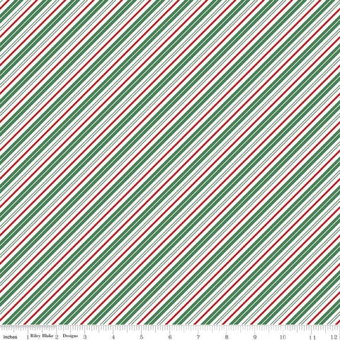 Santa Claus Lane Stripes C9616 Green - Riley Blake Designs - Christmas Diagonal Green Red White Stripe Striped - Quilting Cotton Fabric