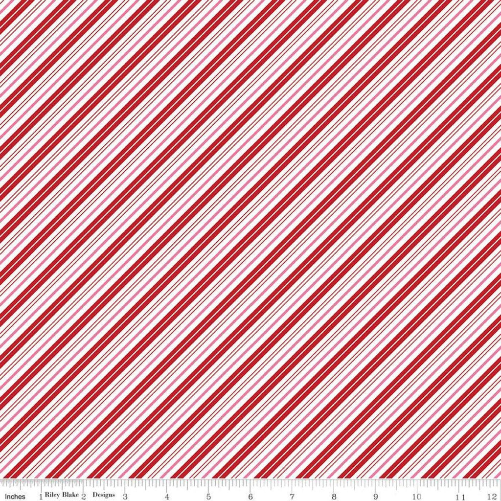 SALE Santa Claus Lane Stripes C9616 Red - Riley Blake Designs - Christmas Diagonal Red Pink White Stripe Striped - Quilting Cotton Fabric