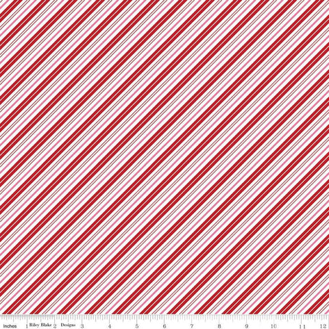 Santa Claus Lane Stripes C9616 Red - Riley Blake Designs - Christmas Diagonal Red Pink White Stripe Striped - Quilting Cotton Fabric