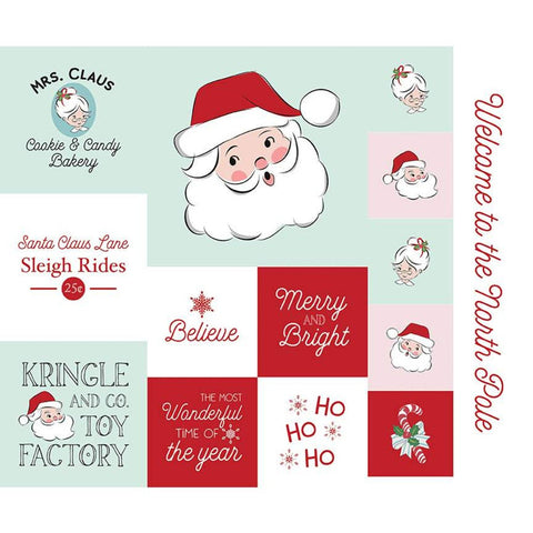 Santa Claus Lane Christmas Panel 2 P9618-2 by Riley Blake Designs - Christmas Patchwork Blocks Sayings Images - Quilting Cotton Fabric
