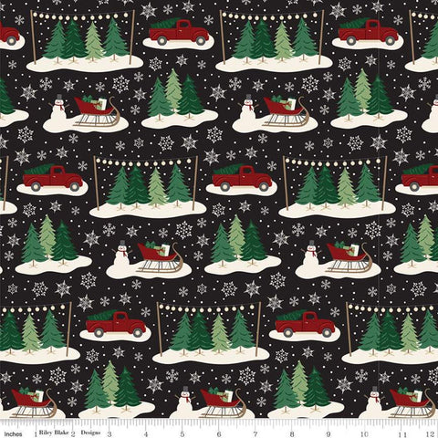 Christmas Traditions Main Black - Riley Blake Designs - Trees Sleighs Snowmen Trucks Snowflakes  - Quilting Cotton Fabric