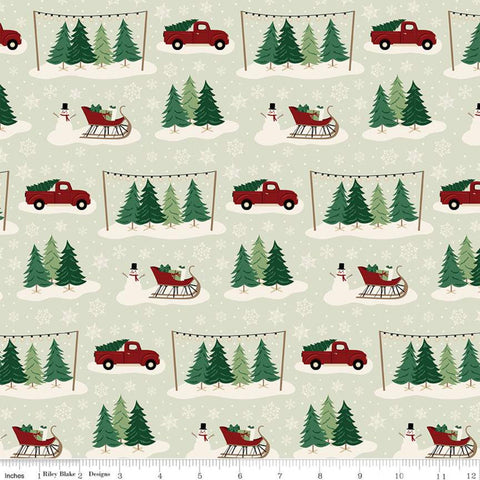Christmas Traditions Main Mint - Riley Blake Designs - Trees Sleighs Snowmen Trucks Snowflakes Green  - Quilting Cotton Fabric