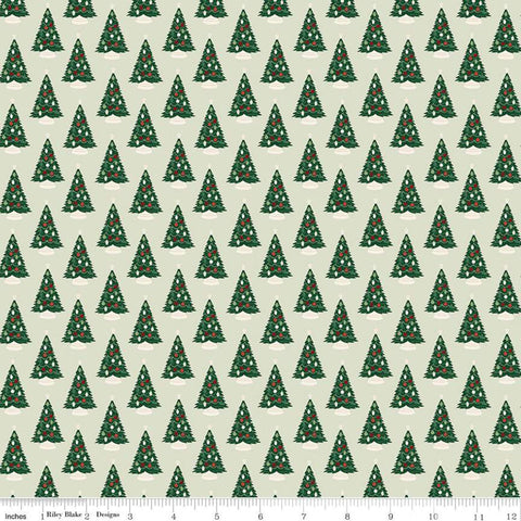 SALE Christmas Traditions Trees Mint - Riley Blake Designs - Decorated Christmas Trees Green  - Quilting Cotton Fabric