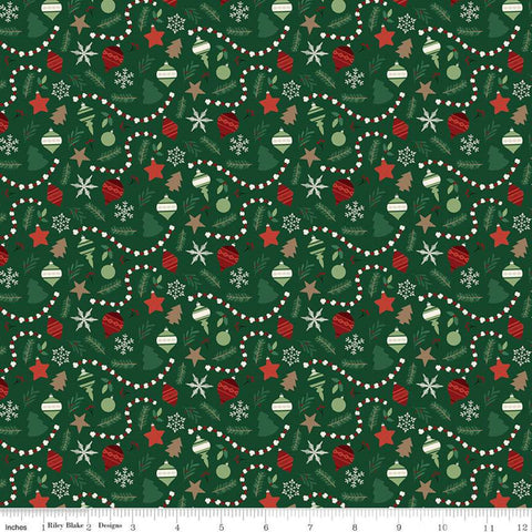 Christmas Traditions Ornaments Dark Green - Riley Blake Designs - Decorations Garlands Snowflakes Sprigs  - Quilting Cotton Fabric