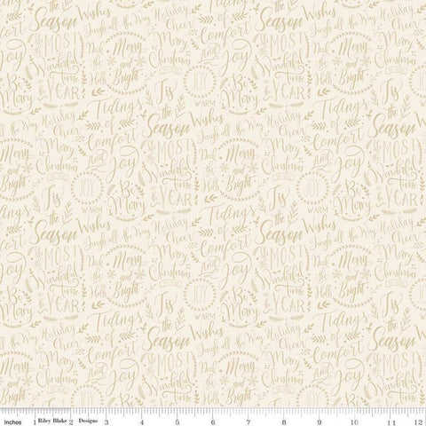 SALE Christmas Traditions Words Cream - Riley Blake Designs - Christmas Sayings Phrases Sprigs Text  - Quilting Cotton Fabric