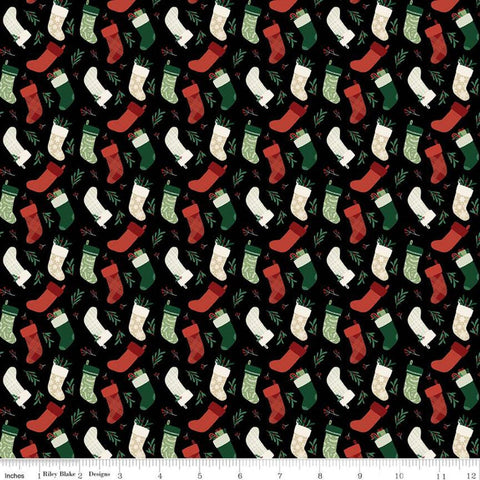 Christmas Traditions Stockings Black - Riley Blake Designs - Christmas Stockings  - Quilting Cotton Fabric