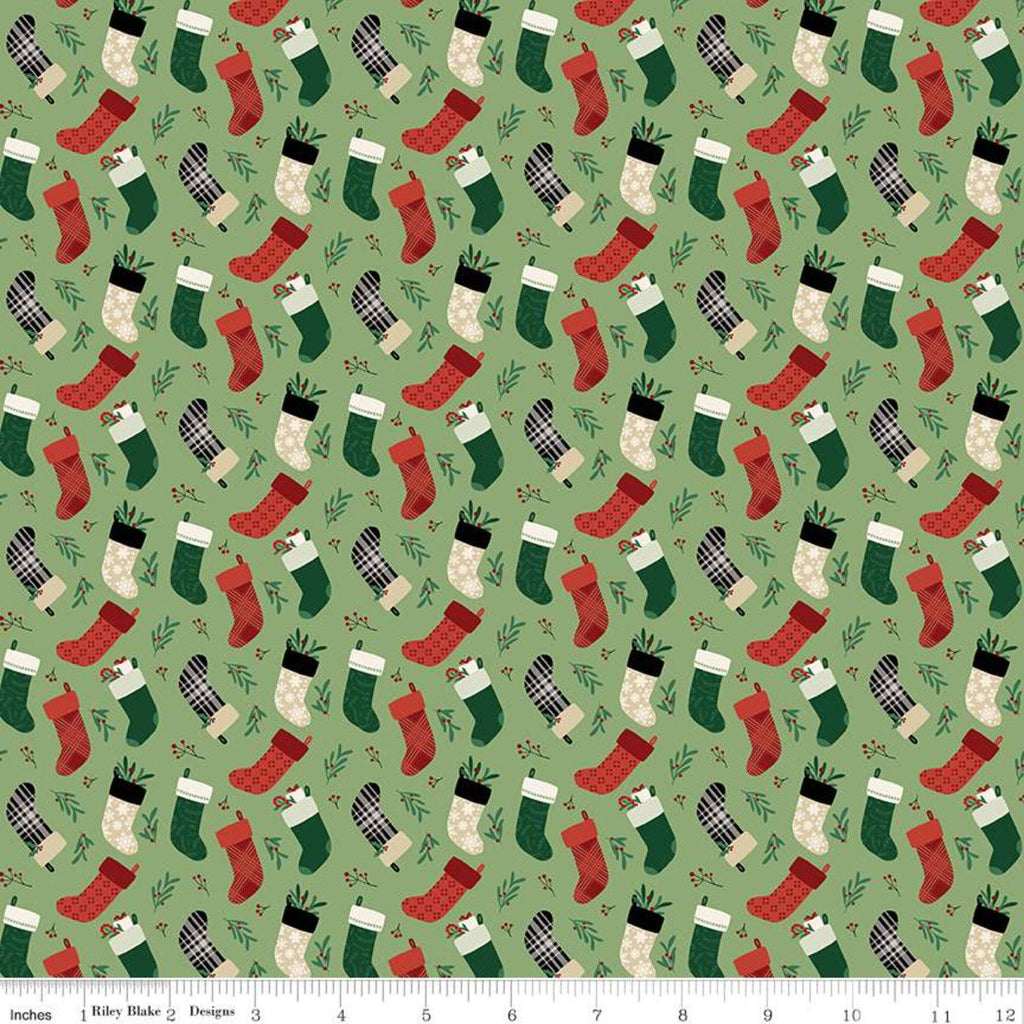 Christmas Traditions Stockings Green - Riley Blake Designs - Christmas Stockings  - Quilting Cotton Fabric