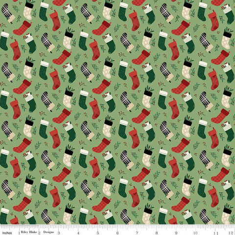 SALE Christmas Traditions Stockings Green - Riley Blake Designs - Christmas Stockings  - Quilting Cotton Fabric